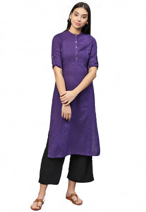 Pintucked Cotton Straight Kurta in Purple