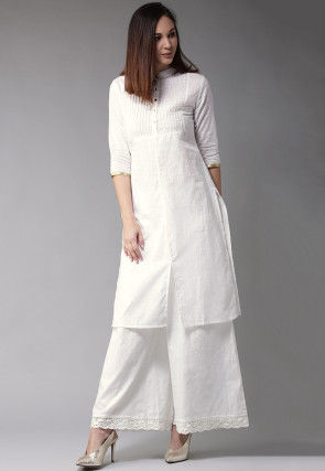 Pintucked Cotton Straight Kurta in White