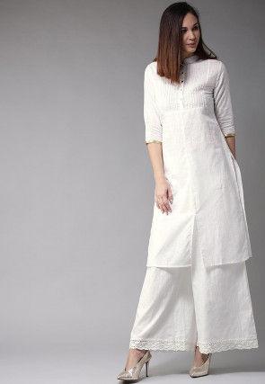 Pintucked Cotton Straight Kurta Set in White
