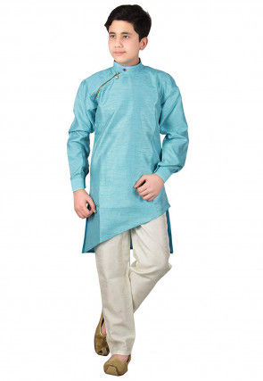 Pintucked Dupion Silk Asymmetric Kurta Set in Light Blue