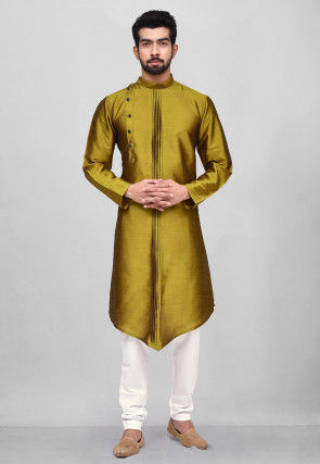Pintucked Dupion Silk Kurta Pyjama in Olive Green