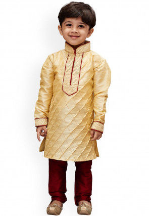 Pintucked Dupion Silk Kurta Set in Beige