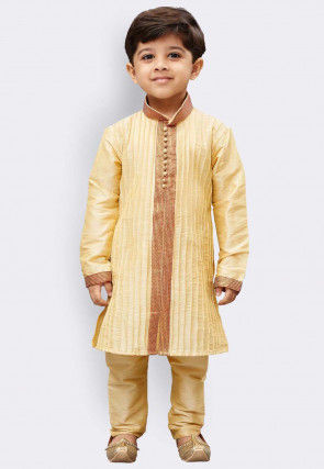 Pintucked Dupion Silk Sherwani in Beige