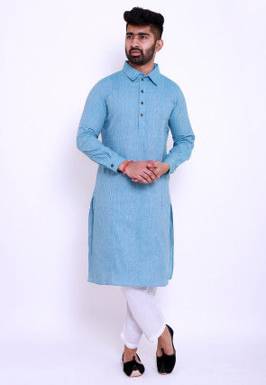 Pintucked Linen Cotton Kurta in Sky Blue