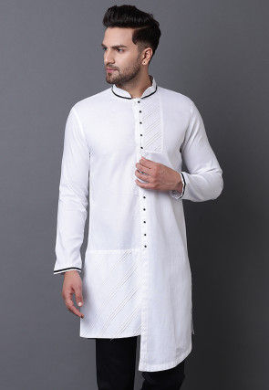 Pintucked Pure Cotton High Low Kurta in White