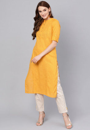 Pintucked Pure Cotton Kurta Set in Yellow