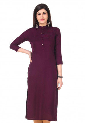 Pintucked Rayon Straight Kurta in Wine