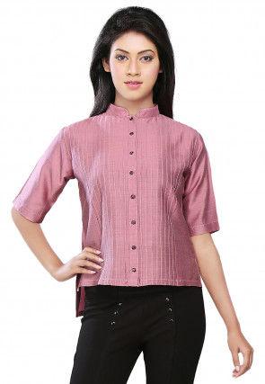Pintucks Cotton Silk Asymmetric Top in Pink