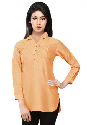 Pintucks Art Silk Kurti in Light Peach