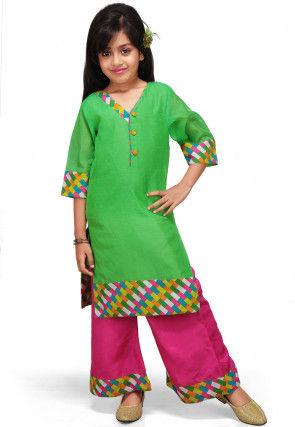 Plain Art Chanderi Salwar Set in Green