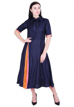 Plain Art Silk A Line Dress in Navy Blue