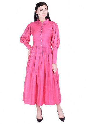 Plain Art Silk A Line Dress in Pink