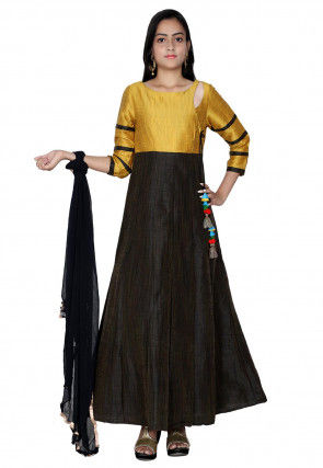 Plain Art Silk Abaya Style Suit in Black and Mustard