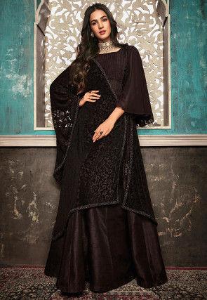 Plain Art Silk Abaya Style Suit in Dark Brown