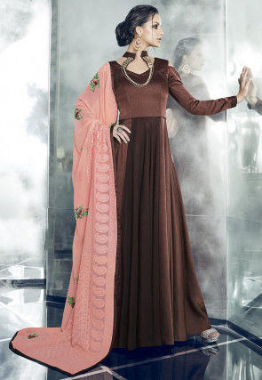 Plain Art Silk Abaya Style Suit in Dark Brown