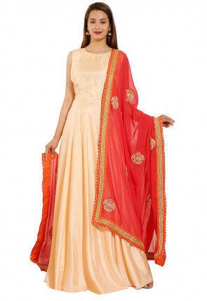 Plain Art Silk Abaya Style Suit in Light Peach