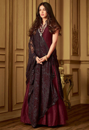 Plain Art Silk Abaya Style Suit in Maroon