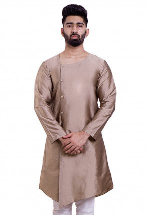 Plain Art Silk Asymmetric Kurta in Light Fawn