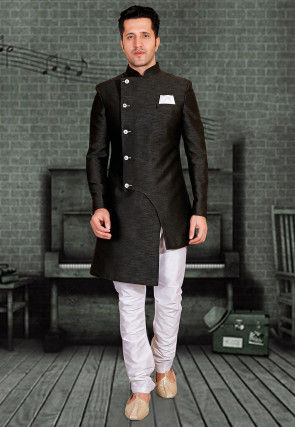 Plain Art Silk Asymmetric Sherwani in Black