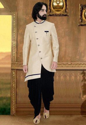Plain Art Silk Asymmetric Sherwani in Light Beige