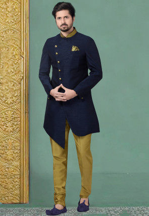 Plain Art Silk Asymmetric Sherwani in Navy Blue