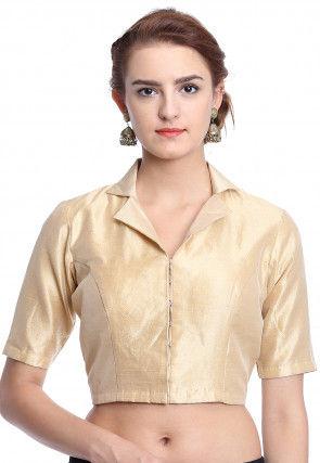 Plain Art Silk Blouse in Beige