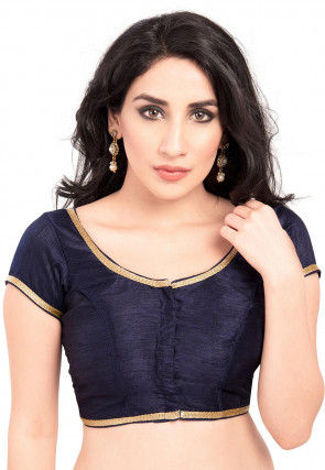Plain Art Silk Blouse in Navy Blue