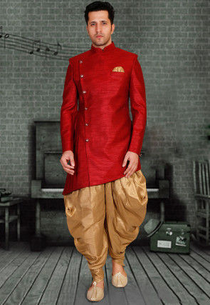 Plain Art Silk Dhoti Asymmetric Sherwani in Red