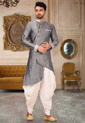 Plain Art Silk Dhoti Kurta in Grey