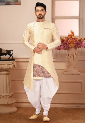 Plain Art Silk Dhoti Kurta in Light Beige