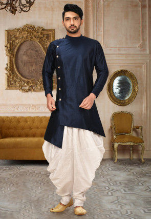 Plain Art Silk Dhoti Kurta in Navy Blue