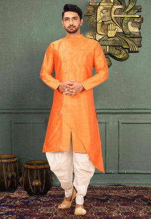 Plain Art Silk Dhoti Kurta in Orange