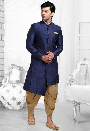 Plain Art Silk Dhoti Sherwani in Dark Blue