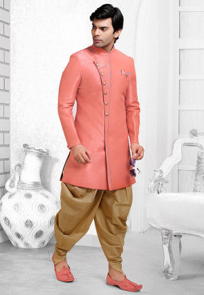 Plain Art Silk Dhoti Sherwani in Dark Peach