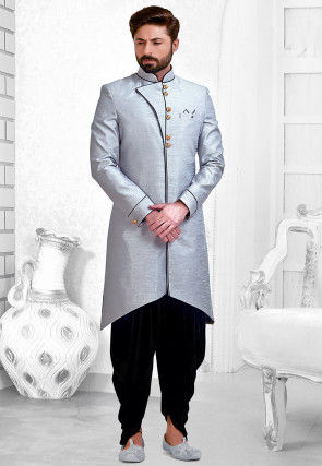 Plain Art Silk Dhoti Sherwani in Grey