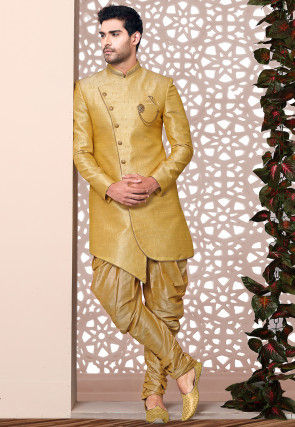 Plain Art Silk Jacquard Asymmetric Sherwani in Yellow