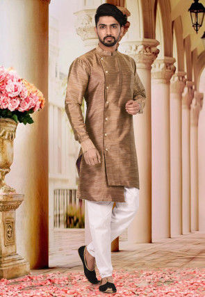 Plain Art Silk Jacquard Kurta Set in Copper