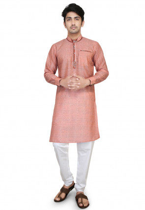 Plain Art Silk Jacquard Kurta Set in Peach