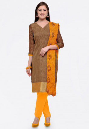 Plain Art Silk Jacquard Straight Suit in Brown