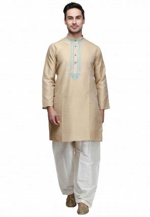 Plain Art Silk Kurta Set in Beige