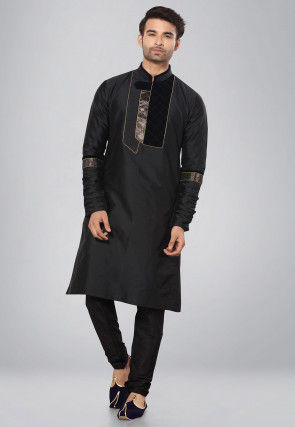 Plain Art Silk Kurta Set in Black
