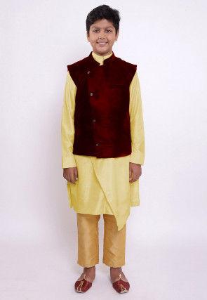 Plain Art Silk Kurta Set in Light Yellow and Maroon