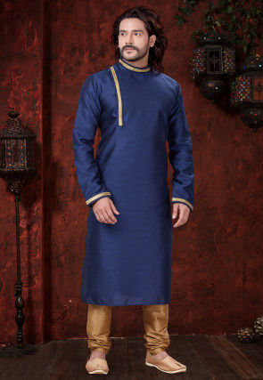 Plain Art Silk Kurta Set in Navy Blue