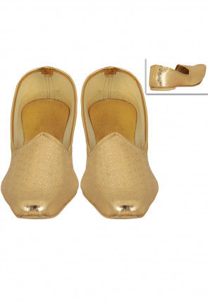 Plain Art Silk Mojari in Golden