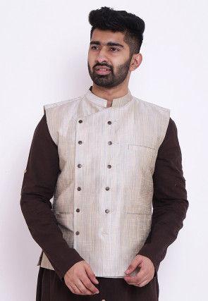 Plain Art Silk Nehru Jacket in Off White