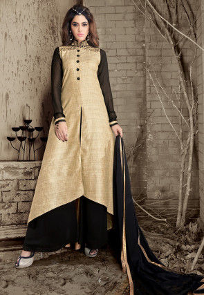 Plain Art Silk Pakistani Suit in Beige and Black