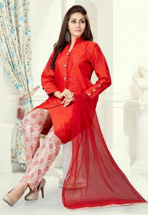 Plain Art Silk Pakistani Suit in Red
