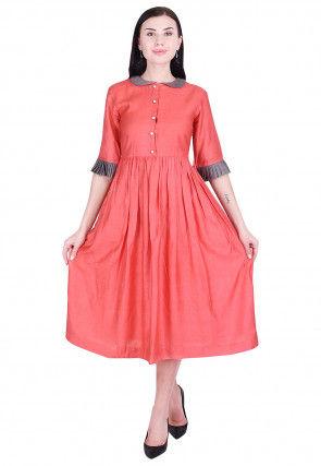 Plain Art Silk Pleated Dress in Dark Peach