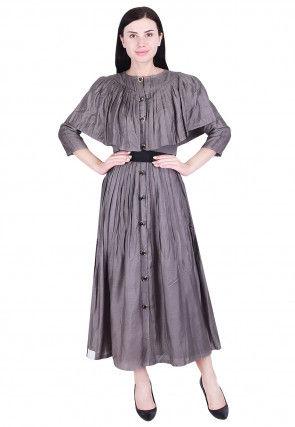 Plain Art Silk Pleated Dress in Grey