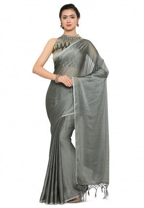 Plain Chinon Chiffon Saree in Grey